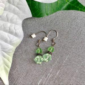 Jewelry - Handmade Green Crystal Earrings